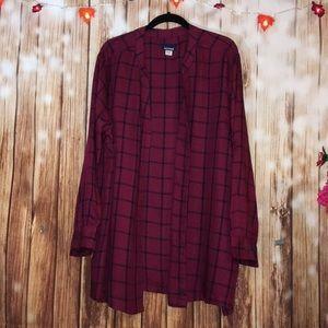Plus Size 2X  Burgundy Checkered Camp Shirt
